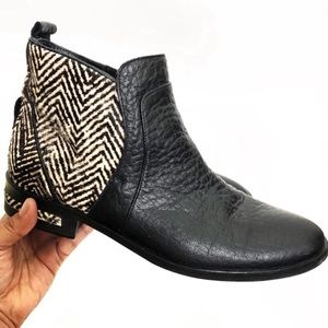 Freda Salvador Black Leather Calf Hair Ankle Boots